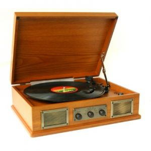 USB Norwich Retro Wooden Record Player